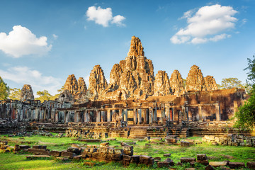 Wall Mural - Main view of ancient Bayon temple in Angkor Thom, Cambodia