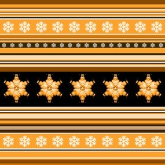 Winter seamless pattern - striped with snowflake motif in orange