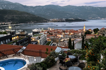 Old town of Budva in Montenegro at sunset