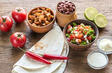 Ingredients for burrito