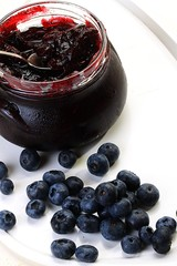 blueberry jam on a white background