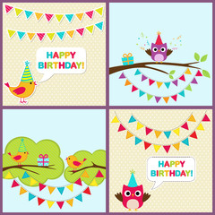 Vector birthday cards with birds