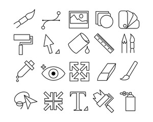 Graphic Design Icon Set - Outline Icons