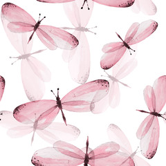 The pattern of butterflies. Seamless vector background. Watercolor illustration 10