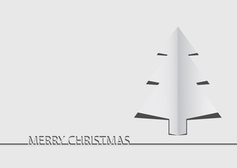 Vector : Paper christmas tree on white background