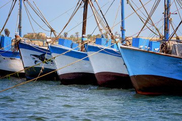 Fisher boats in Paracas, Peru