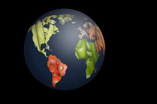 World Fruits Vegetables Map