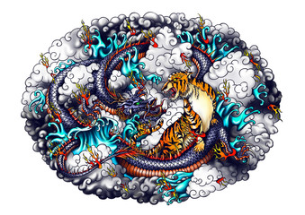 Japan style dragon and tiger design.