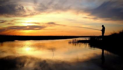 Printed kitchen splashbacks Fishing Sunset Fisherman