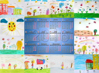 calendar for 2016 with different children's drawings