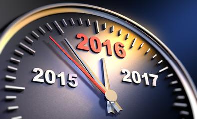 Uhr mit Jahreswechsel 2015 2016
