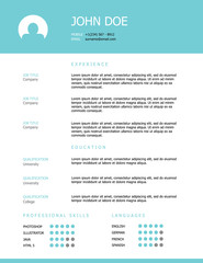 Professional clean styled resume template design with a teal header.