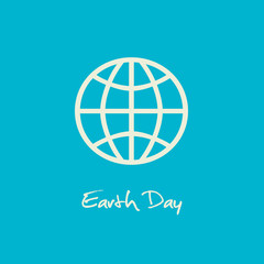 Simple Earth Day April 22 graphic with blue background.