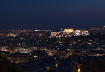 Greece Athens night acropolis