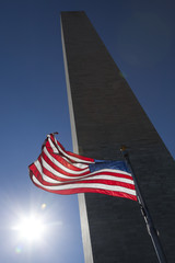 USA flag dark sky and Washington Monument