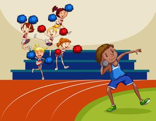 Cheerleaders cheering a game