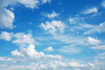 Blue sky and clouds, beautiful cloudscape over horizon.