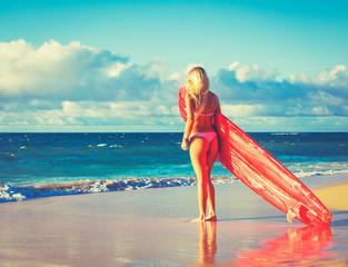 Blonde Surfer Girl on the Beach