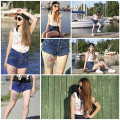 Collage of photos with beautiful girl with tattooed body