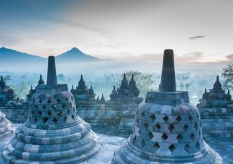 Aluminium Prints Indonesia Sunrise at Borobudur Temple, Yogyakarta, Java, Indonesia..