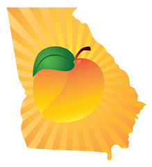 Georgia State with Peach Color Vector Illustration