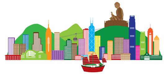 Hong Kong Skyline and Buddha Statue Color Vector Illustration