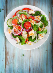 Healthy salad with chicken breast.