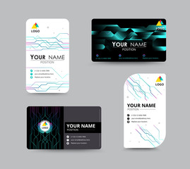 Digital and technology graphic business card. flyer template. ve