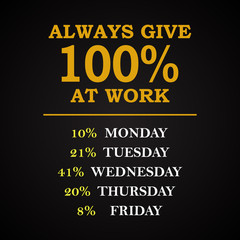 Always 100% at work - funny inscription template