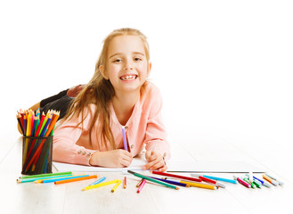 Kid Artist Drawing Color Pencils, Smiling Child Girl Imagination