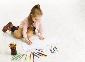Kid Girl Drawing Color Pencils, Artistic Child Education, Painting