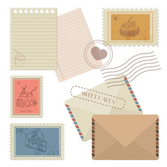 Collection of mail design elements -  postmCollection of design