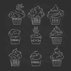 Cupcake icon. Dessert cake sign. Delicious bakery food symbol. L