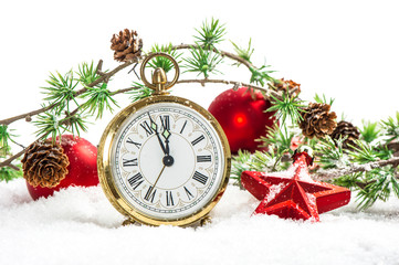 Vintage christmas decoration antique golden clock and red bauble