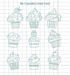 Linear cupcakes icons on notebook sheet