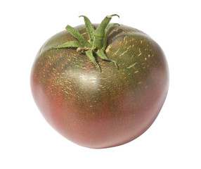 Red-green tomato on a white background isolated