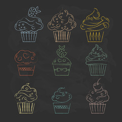 Linear cupcakes icons on a black background stylized drawing of
