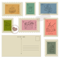 Set of Postal Business Icons, Postcards and PostageStamps