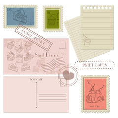 Set of postal elements for design postcard, postage stamps, blan