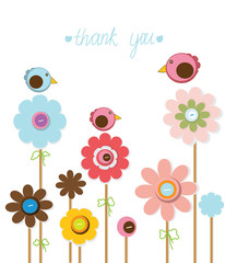 beautiful decorative background with flowers bird and the words thank you on white background