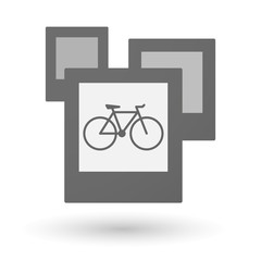 Isolated group of photos with a bicycle