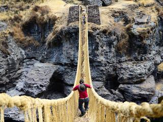 Dangerous straw bridge over the precipice