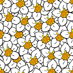 Floral seamless pattern with white hand drawn flowers