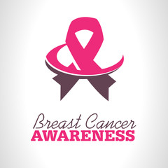 Pink ribbon icon for breast cancer awareness