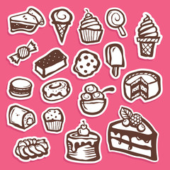 Set of dessert baking and sweet sticker icons