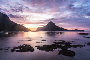 Wall Murals Candy pink Sunset over El Nido bay in Palawan, Philippines