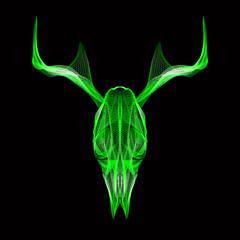 Deer skull. 3d style vector for print, tattoo, t-shirt.