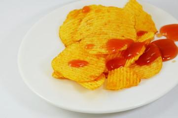potato chip dressing ketchup on dish