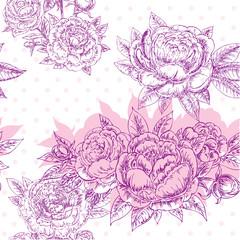seamless flowers peonies pattern
