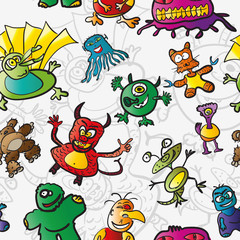 Seamless pattern with funny monsters